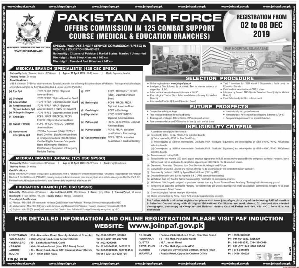 Join PAF as Doctor and Teacher in 125 Combat Support Course (Medical and Educational Branches)