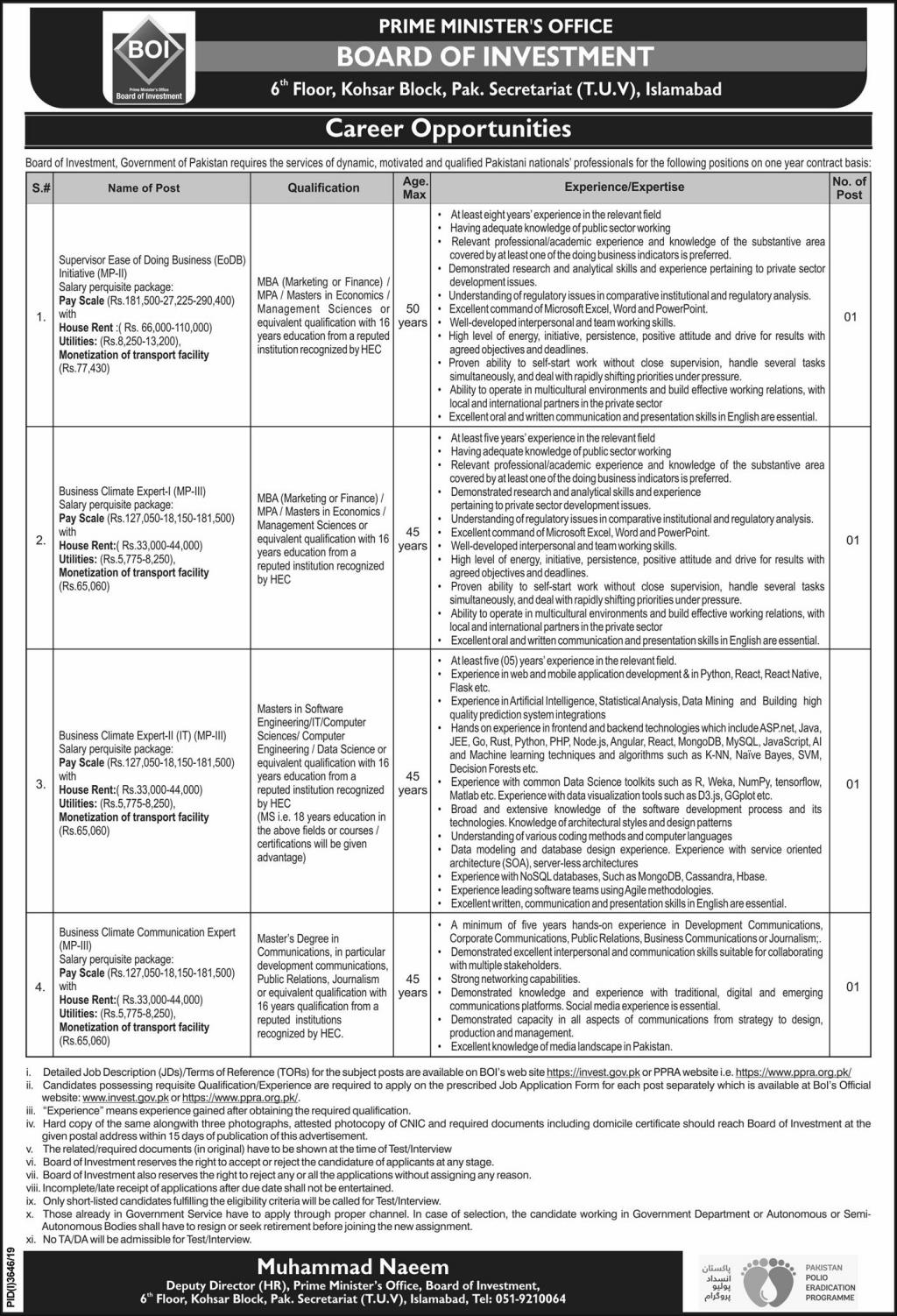 PRIME MINISTER'S OFFICE Board of Investment Career Opportunities